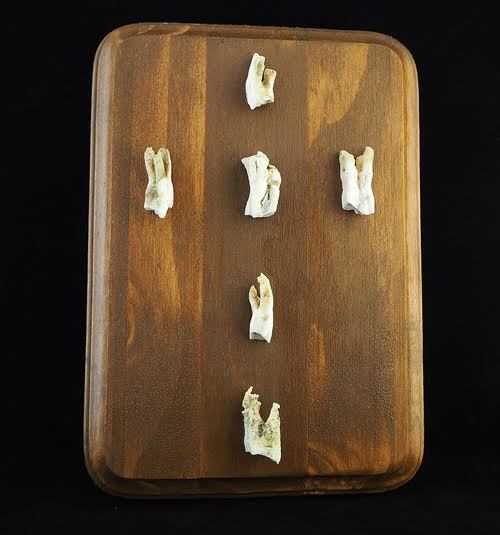 """Six goat teeth from Crete Greece. They have been ethically found in canyons, pastures and cleaned without chemical process. Approximately 7"""" x 5"""" x 3/4"""" thick pine panel plaque. Hand stained in American walnut and varnished in semi gloss."""